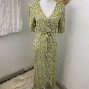Who what wear green ditsy floral maxi wrap dress